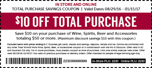 Total Wine Coupons Up to 20% Off Select Wines & Spirits Get up to 20% off discount on select wines, including red & white wine, gin, vodka, rum, whiskey and a lot more at harishkr.ml